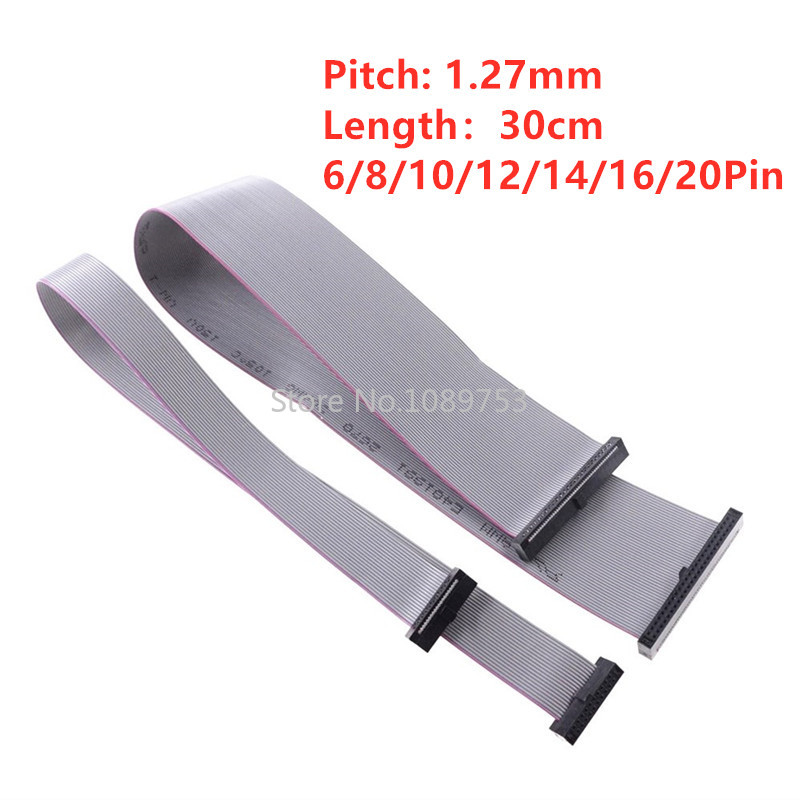 1pcs 1.27mm Pitch 30cm 6P 10P 14P 16P 20P JTAG ISP Download Cable Gray Flat Ribbon Data Cable For 1.27mm Connector