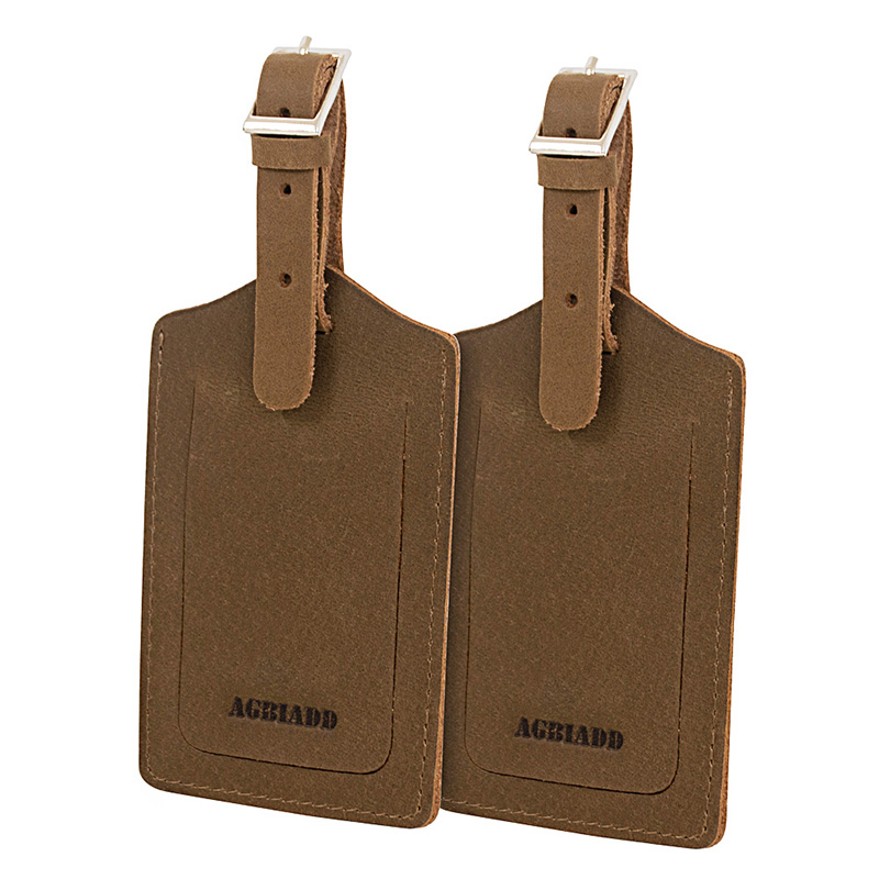 Genuine Leather Luggage Tags Baggage Tags ID Labels Fit For Suitcases Backpacks 2 Pieces Set