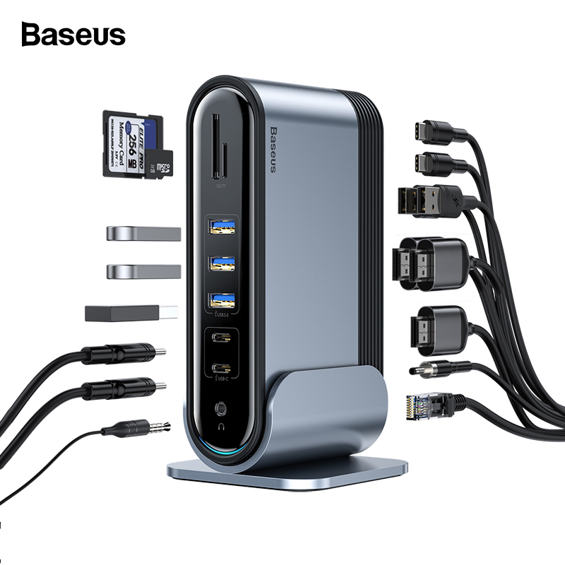 Baseus USB C HUB 17 In 1 Type C HUB To PD RJ45 VGA HDMI 3 Screens USB 3.0 2.0 Adapter Docking Station For MacBook Pro Type-c Hub