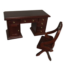 Muebles de simulación de juguete 2019 Silla de escritorio Vintage miniatura 1:12 Mini casa de muñecas bonita Mini muebles Vintage W812