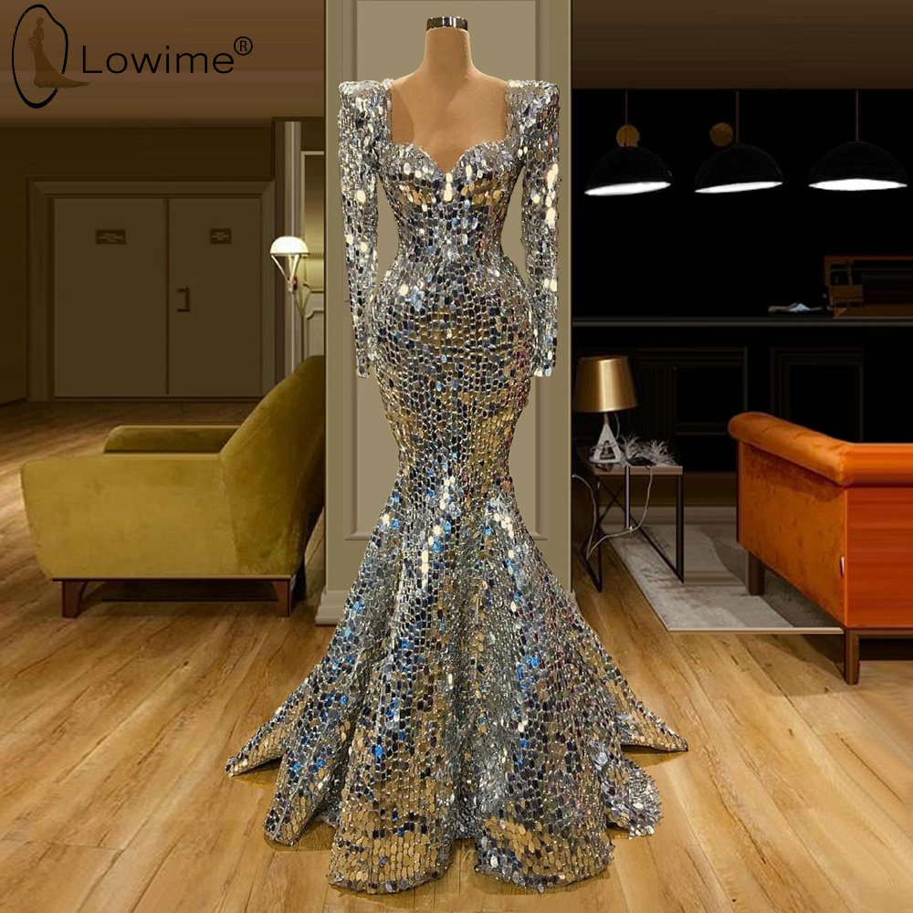 Robe De Soiree Luxury Silver Mermaid Evening Dresses Long Sleeve Saudi Arabia Dubai Prom Party Gowns Vestido De Festa