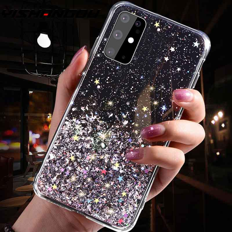 Glitter Bling Sequins Case For Samsung S20 FE Note20 Ultra 10 S10 Plus A50 A70 A51 A71 A21S Epoxy Star Transparent Soft TPU Case|Fitted Cases| - AliExpress