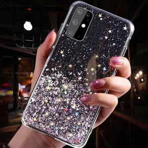 Glitter Bling Sequins Case For Samsung S20 Ultra Note 10 S10 9 Plus A50 A70 A51 A71 A81 A91 Epoxy Star Transparent Soft TPU Case(China)