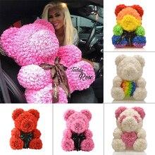 Дешево 40 см красный медведь Роза плюшевый медведь Роза цветок искусственные украшения Рождественские подарки для женщин подарок на день Святого Валентина