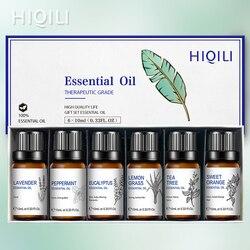 Hiqili 6 Stks/set Geschenkdoos Thee Boom Oranje Pepermunt Lavendel Citroengras Eucalyptus Etherische Olie 10 Ml Massage Diffuser Aroma Olie