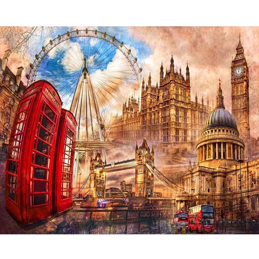 Peinture diamant de paysage londonien 5d | Bricolage, vente broderie diamant, carré image ronde, peinture diamant pour enfants