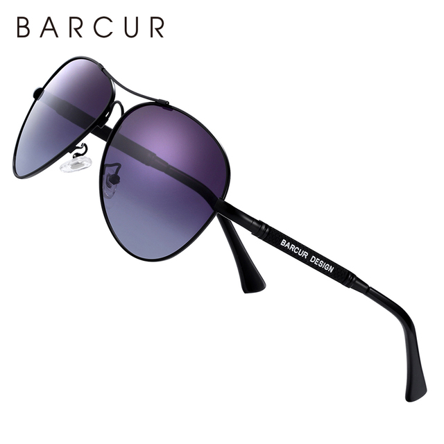 BARCUR Design Titanium Alloy Sunglasses Polarized Men's Sun Glasses Women Pilot Gradient Eyewear Mirror Shades Oculos De Sol 4