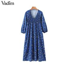 Vadim ผู้หญิงพิมพ์ดอกไม้พิมพ์ Midi ชุด V คอยาวจีบหญิง Casual Stylish Blue vestidos QD131