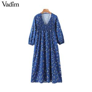 Image 1 - Vadim women floral print midi dress V neck long sleeve elastic pleated female casual stylish blue dresses vestidos QD131