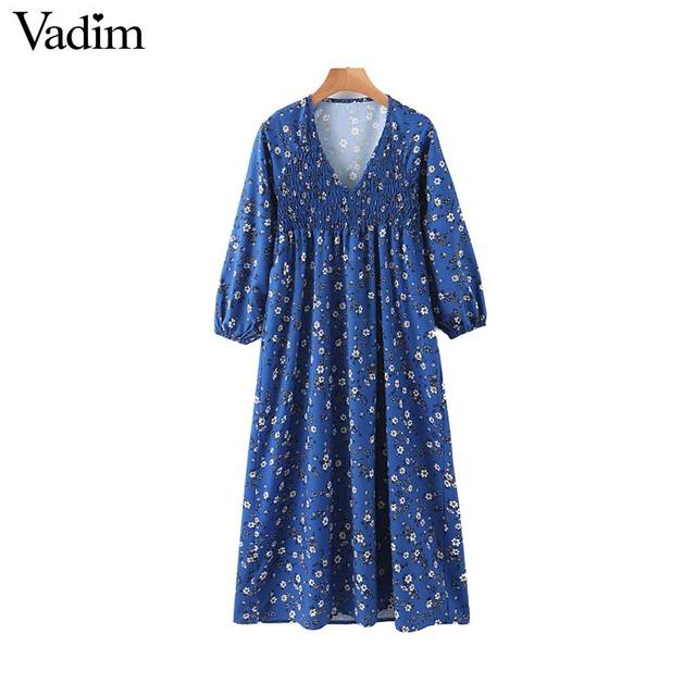 Vadim women floral print midi dress V neck long sleeve elastic pleated female casual stylish blue dresses vestidos QD131