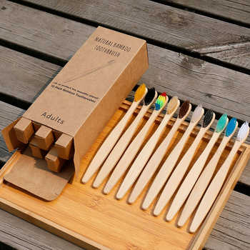 10Pcs Toothbrush Eco-Friendly Rainbow Bamboo Soft Fibre Toothbrush Biodegradable Teeth Brush Solid Bamboo Handle Toothbrush - DISCOUNT ITEM  37% OFF All Category