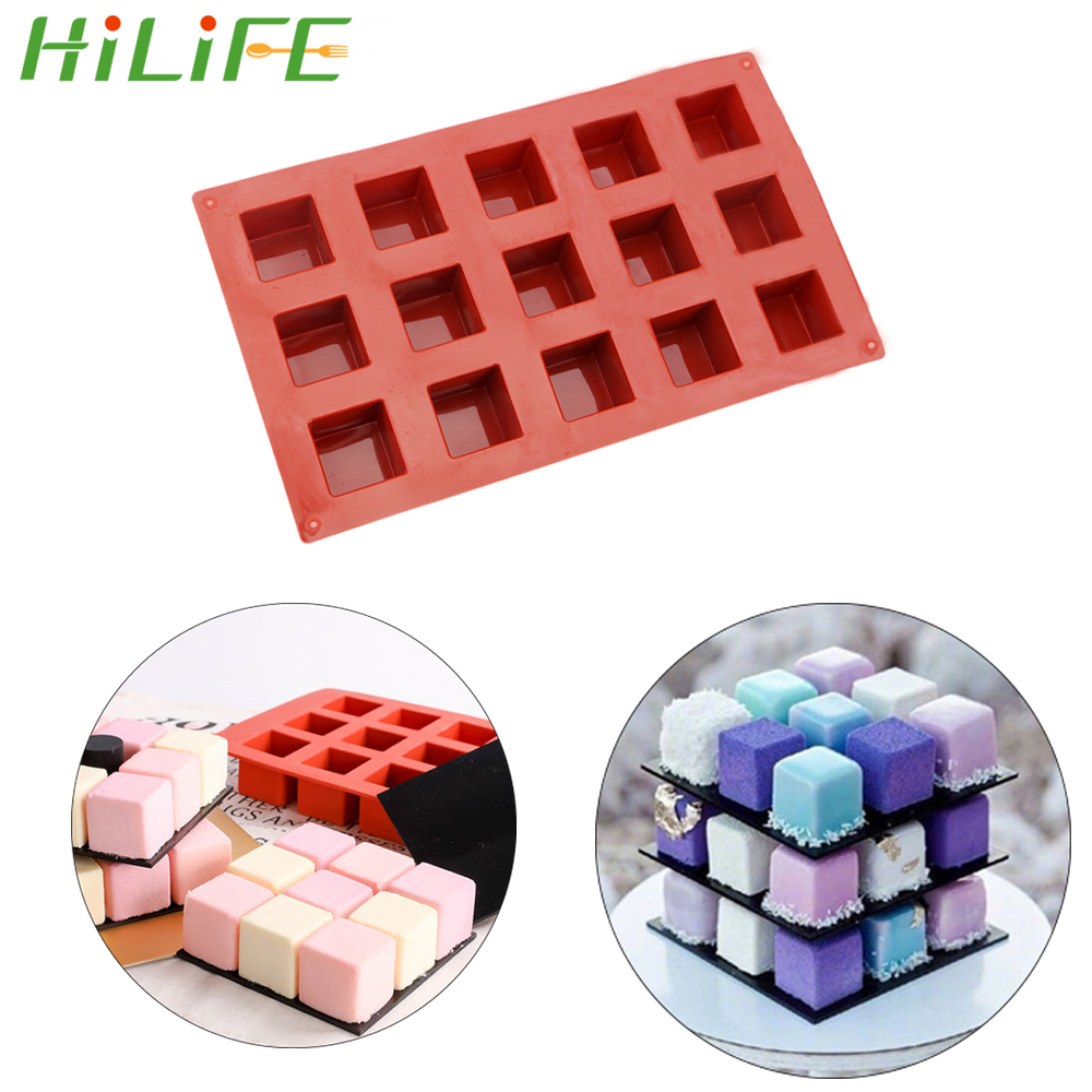 HILIFE 15 Grids Square Silicone Soap Molds Kitchen dining and bar supplies Making Chocolate Cake Mold Handmade Soap For DIY Soap