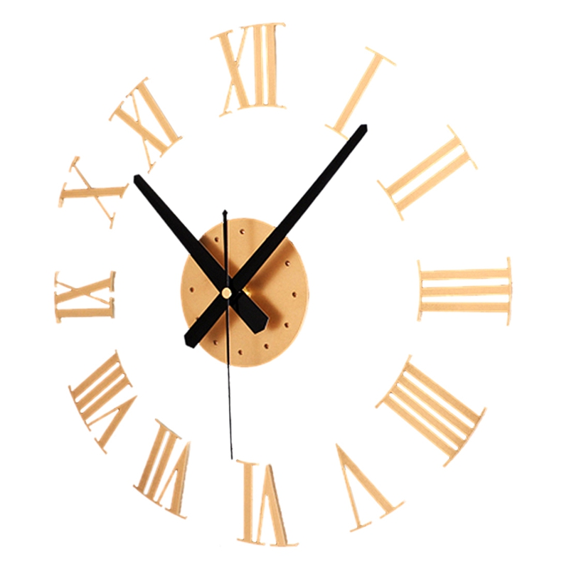 Fashion-DIY Luxury 3D Roman Numerals Wall Clock Large Size Home Decoration Art Clock HOT