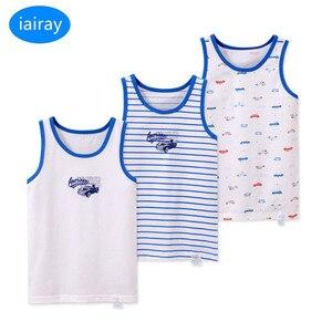 Image 3 - Iairay 3 قطعة/المجموعة الصيف القطن تانك الأعلى للبنين الأبيض القميص فتى النوم قميص بلا أكمام قميص سترة ملابس داخلية لأطفال
