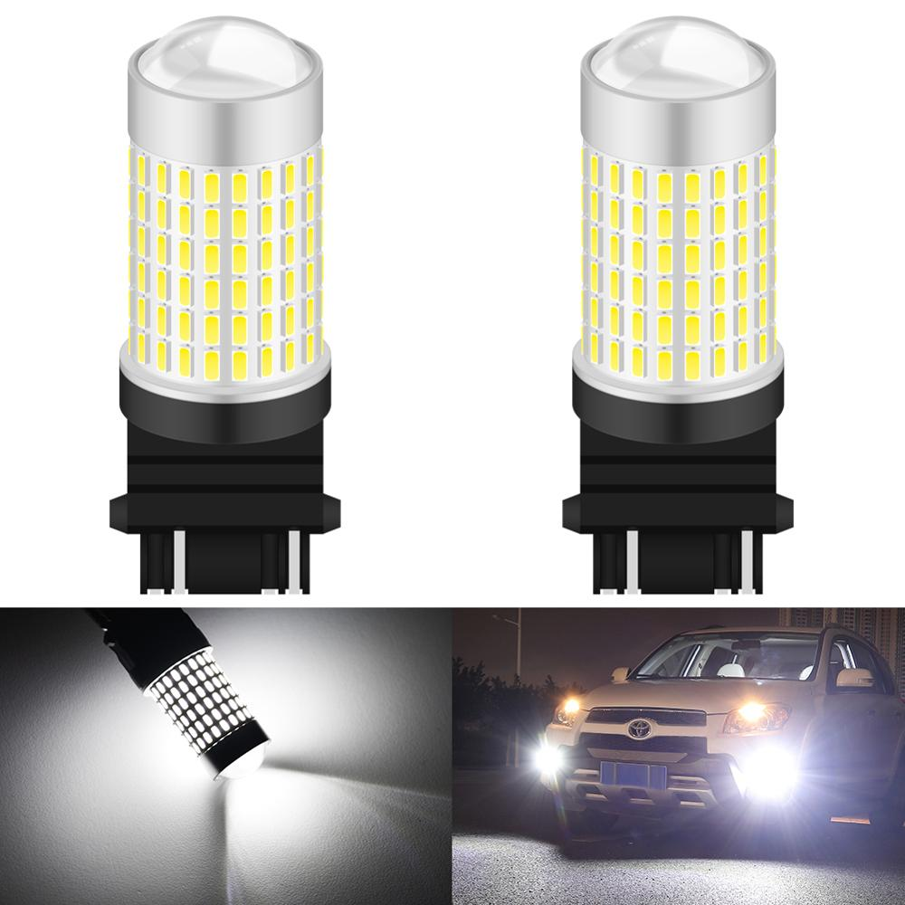2pcs 1500 Lumens Xenon White 144-SMD 3157 3357 3457 4114 3156 <font><b>T25</b></font> <font><b>LED</b></font> Bulbs For 2011-up Jeep Compass DRL Daytime Running Lights image