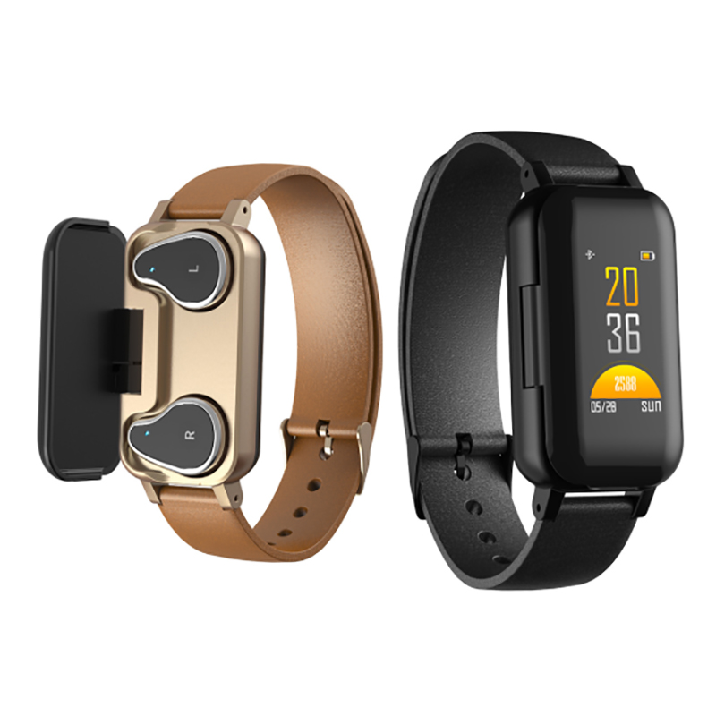 TROZUM <font><b>T89</b></font> <font><b>TWS</b></font> Smart Binaural Bluetooth Headphone Fitness Bracelet Heart Rate Monitor Smart Wristband Sport Watch Men Women image
