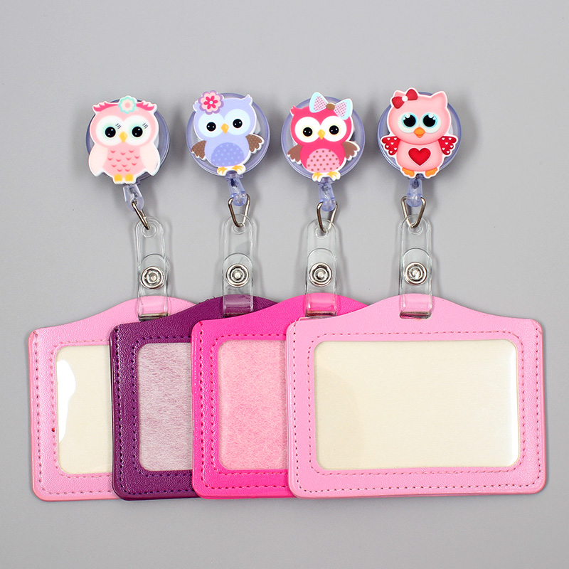 Cartoon Cute Owl Retractable Badge Holder Reel Exhibition Enfermera Student Boy Name Card Girl Hospital Office Chest  Cross Card