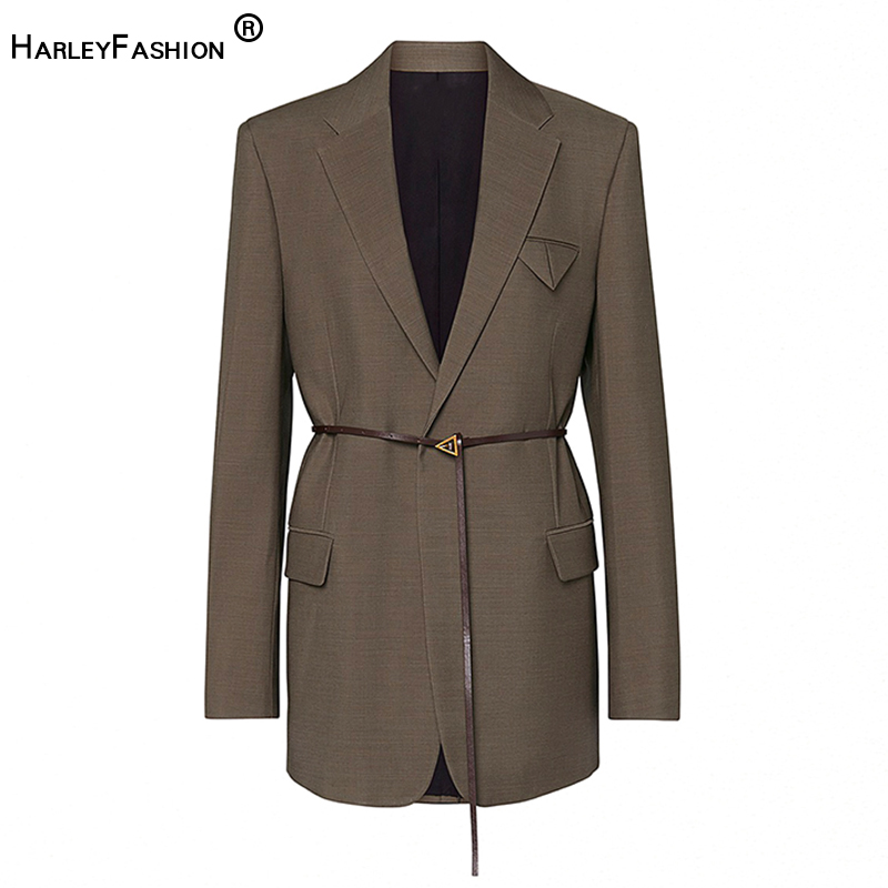 All-match Stylish High Street Celebrity Blazer European American Solid Brown Classic Design Fit Jackets Blazer With Belt