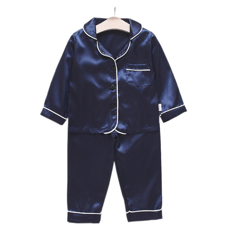 spring autumn new Children pajamas 2pcs sets long-sleeved pure color pajamas household suit baby boy cloths kids Sleep Wear
