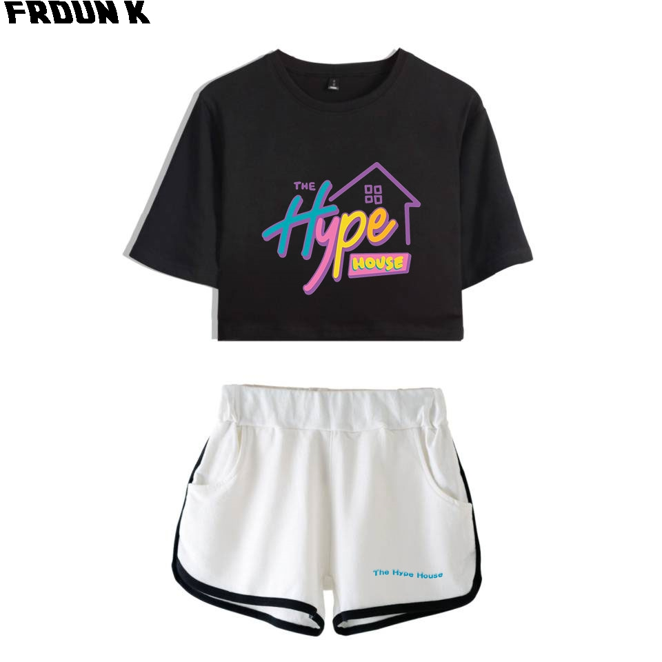 FRDUN TOMMY The Hype House Women Two Piece Set Shorts+lovely T-shirt Harajuku Hot Sale Charli DAmelio Girl Sets