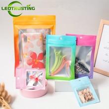 100pcs Color Aluminum Foil Zip Lock Pouches Resealable Translucent Powder Trinkets Snack Tea Trial Custom Printing Packaging Bag