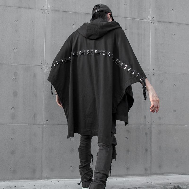 Осенне-зимняя мужская футболка с капюшоном и шнуровкой сзади в стиле хип-хоп, винтажная панк-уличная одежда для ночного клуба, футболки для сцены - Цвет: Черный