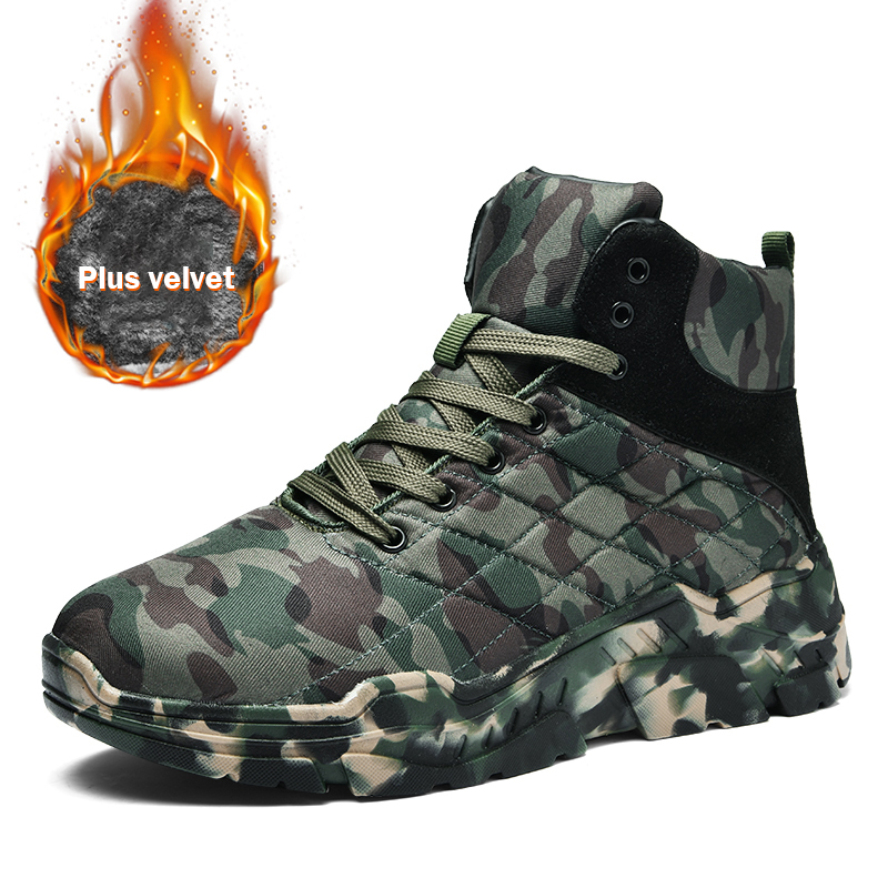 Winter Cotton Shoes Men Camouflage High Top Men's Casual Shoes Plus Velvet Warm Thick-Soled Heighten Man Footwear Big Size 38-47