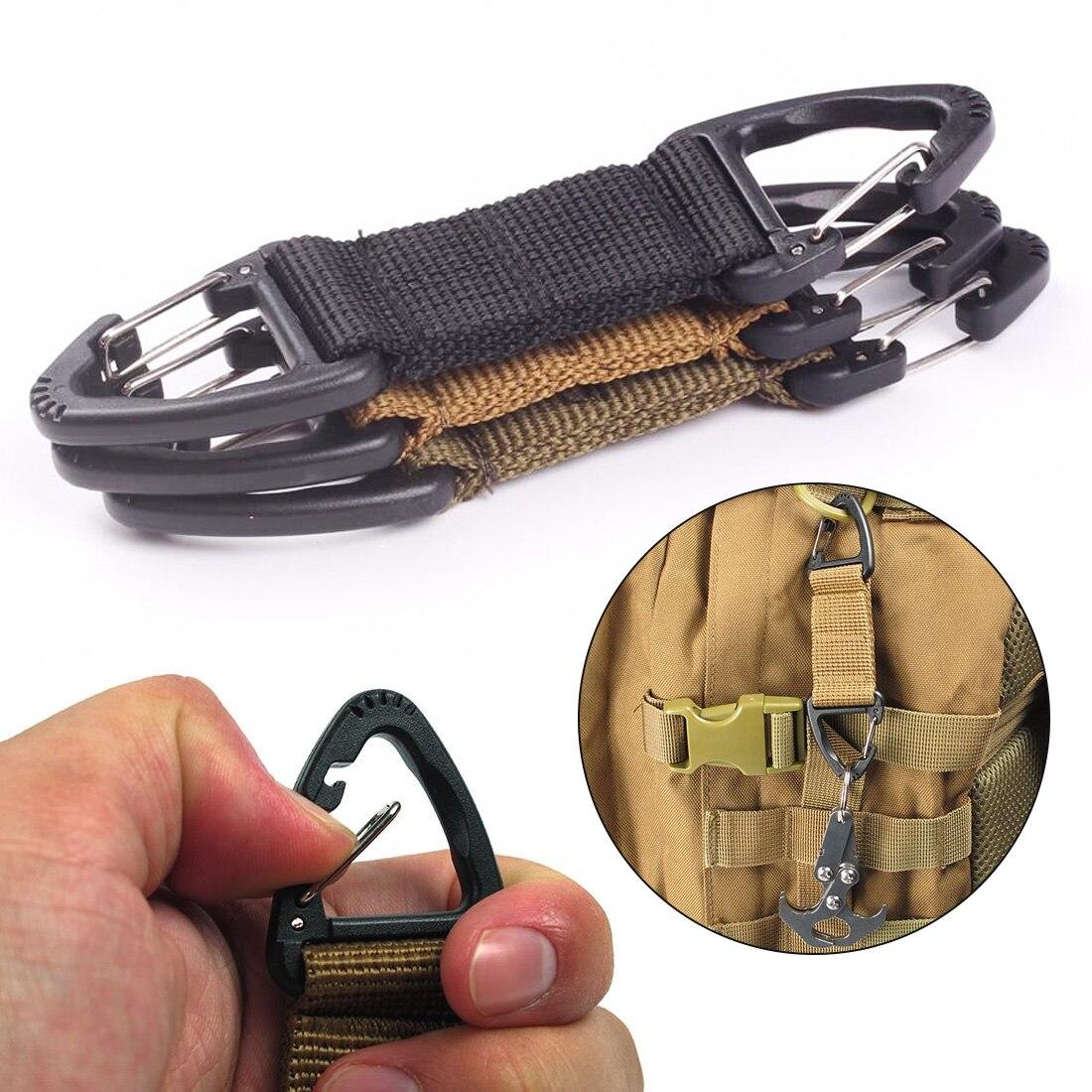 Outdoor Nylon Webbing Belt Clip Climbing Carabiner Buckle Tactical Backpack Bag Webbing Belt Clip Clasp Hanging Chain Key Hook