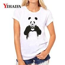 Women T-shirt 3D Print Stylish Love Heart Panda Graphic Tee Casual Summer White T Shirts Fashion Couple Short Sleeve Tops