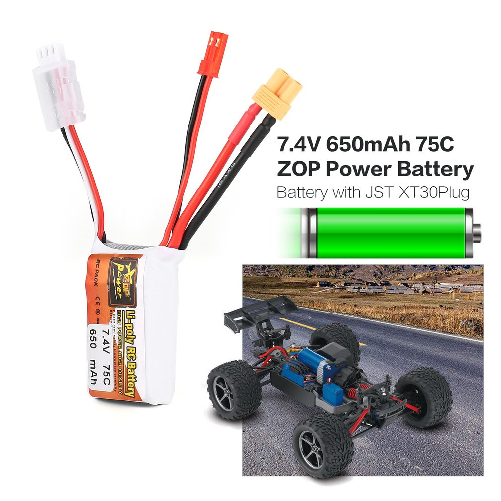 hot! ZOP Power 7.4V <font><b>650mAh</b></font> 75C <font><b>3S</b></font> 1P RC <font><b>Lipo</b></font> Battery JST XT30 Plug Rechargeable for RC Racing Drone Helicopter Car Boat Model image