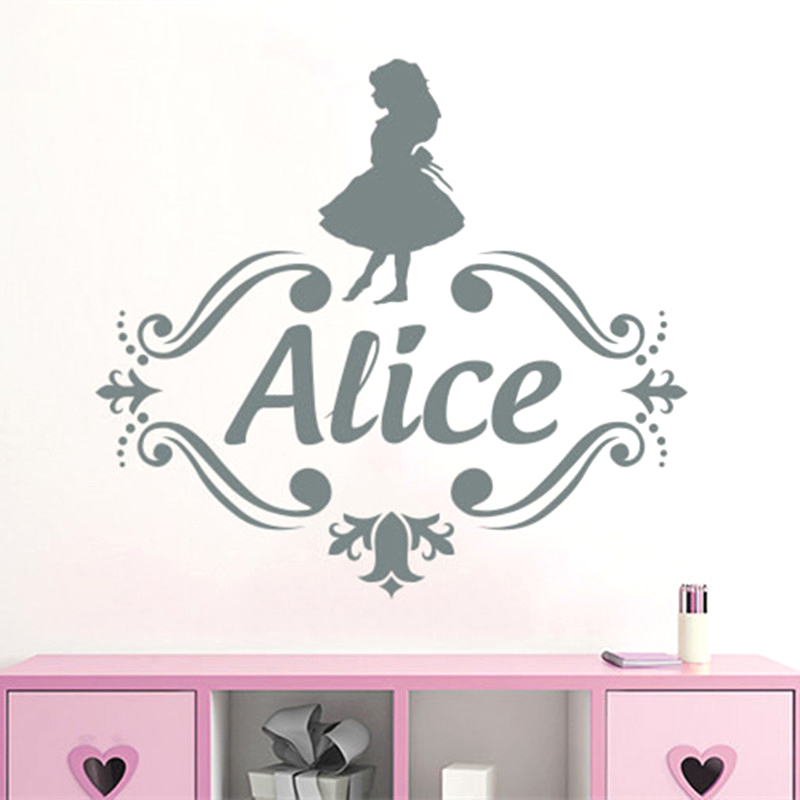 Alice in Wonderland Decor Personalized Name Vinyl Wall Decal Kids Nursery Room Decals Girls Sticker w575