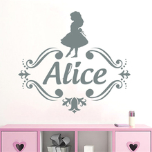 Alice in Wonderland Decor Personalized Name Vinyl Wall Decal Kids Nursery Room Decals Girls Sticker w575