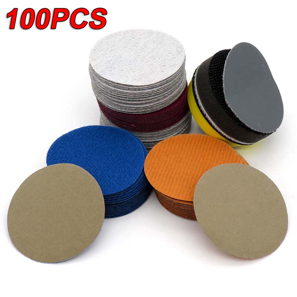 100Pcs 2 Inch Sanding Disc Diameter 50mm Wet & Dry Flocking Sandpaper 60-10000 Grit For Wet /dry Polishing