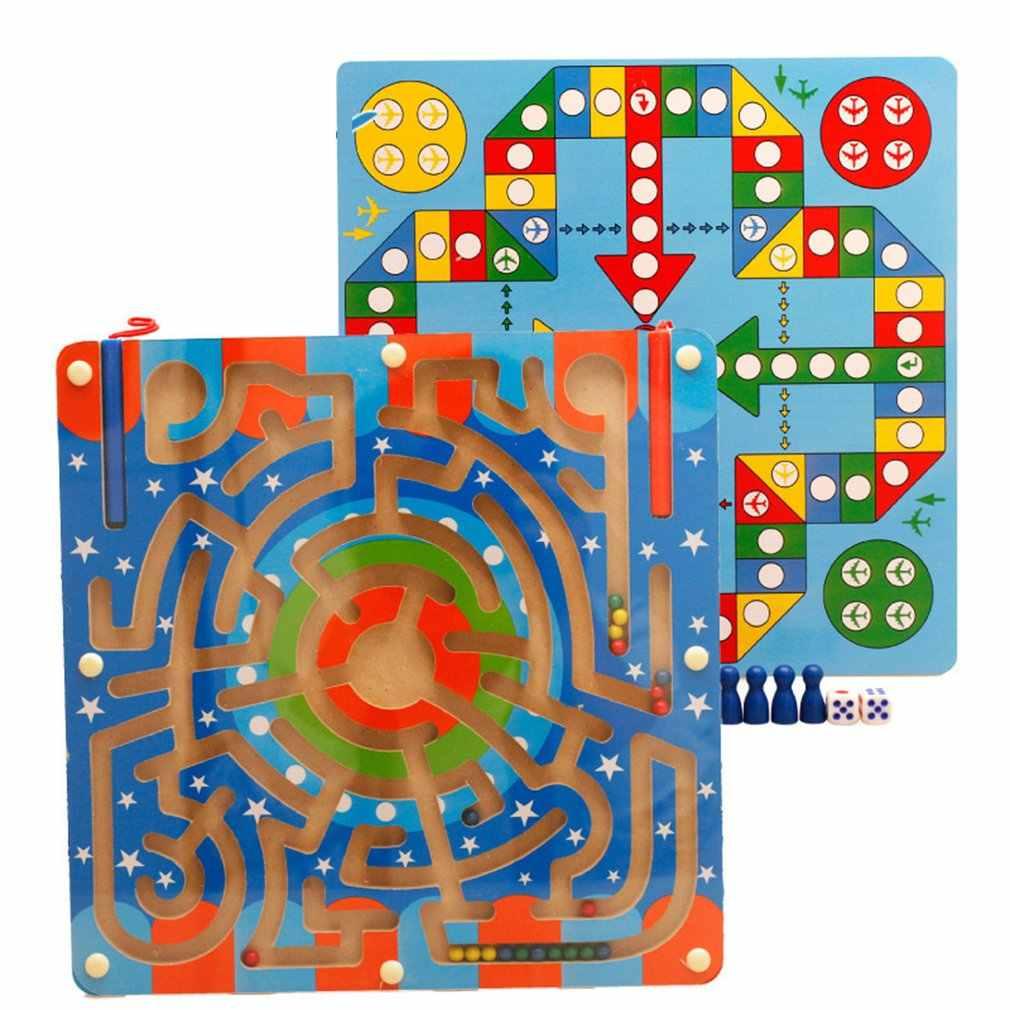 2 в 1 деревянные магнитные пазлы ручка лабиринт Детские развивающие игрушки для детей мальчиков и девочек интеллектуальная головоломка настольная веселые детские игры