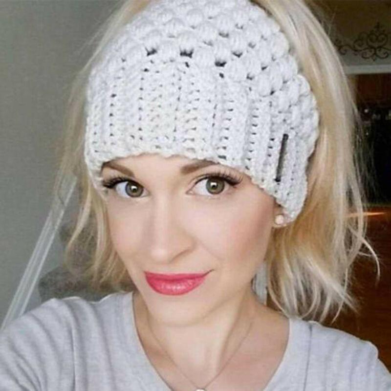 Lady   Beanie   Tail Messy Soft Bun Hat Ponytail Stretchy Knit Crochet Skull Caps Ladies Autumn Winter   Skullies