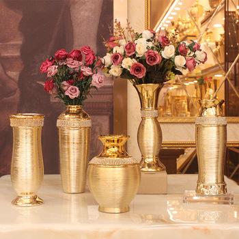 Styl europejski lekki luksusowy galwanizacja złoty szczotkowany ceramiczny metalowy złoty wazon nowoczesny stół jadalny dekoracja ślubna tanie i dobre opinie CN (pochodzenie) Europejska Ceramiki i porcelany Wazon na stolik Wire Drawing Pattern Plating Ware of the Late-Ming and Early-Qing Dynasties
