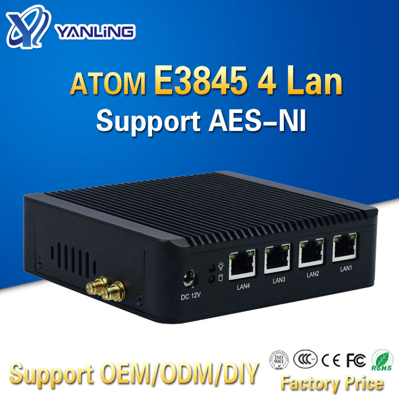 Pfsense Fanless X86 Mini Pc VGA With ATOM E3845 CPU 4 Lan Router Barebone Nano Itx Desktop Computer For Windows 7 4gb Ram AES-NI