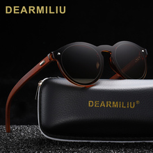 DEARMILIU DESIGN 2019 Natural Handmade Wood Sunglasses Men Sun Glasses Women Brand Design Original Rosewood Round Oculo