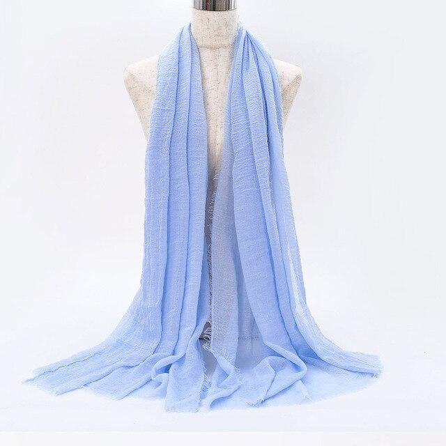 2019 Muslim Women Instant Hijab Scarf Solid Cotton Linen Shawl Crinkle foulard femme musulman Headscarf Arab Islamic Wrap Turban