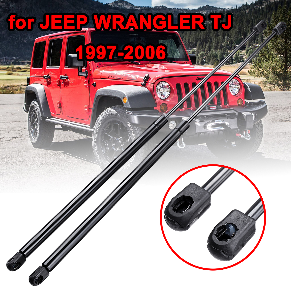 1Pair Car Rear Trunk Hood Lift Supports Props Rod Arm Shocks Strut Bars For Jeep Wrangler TJ 1997 2006 55076310AB 4249|Strut Bars| |  - title=