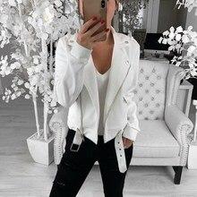 Women Black Slim Cool Jackets Female Plus Size Casual Coats Outwear Turn-Down Co