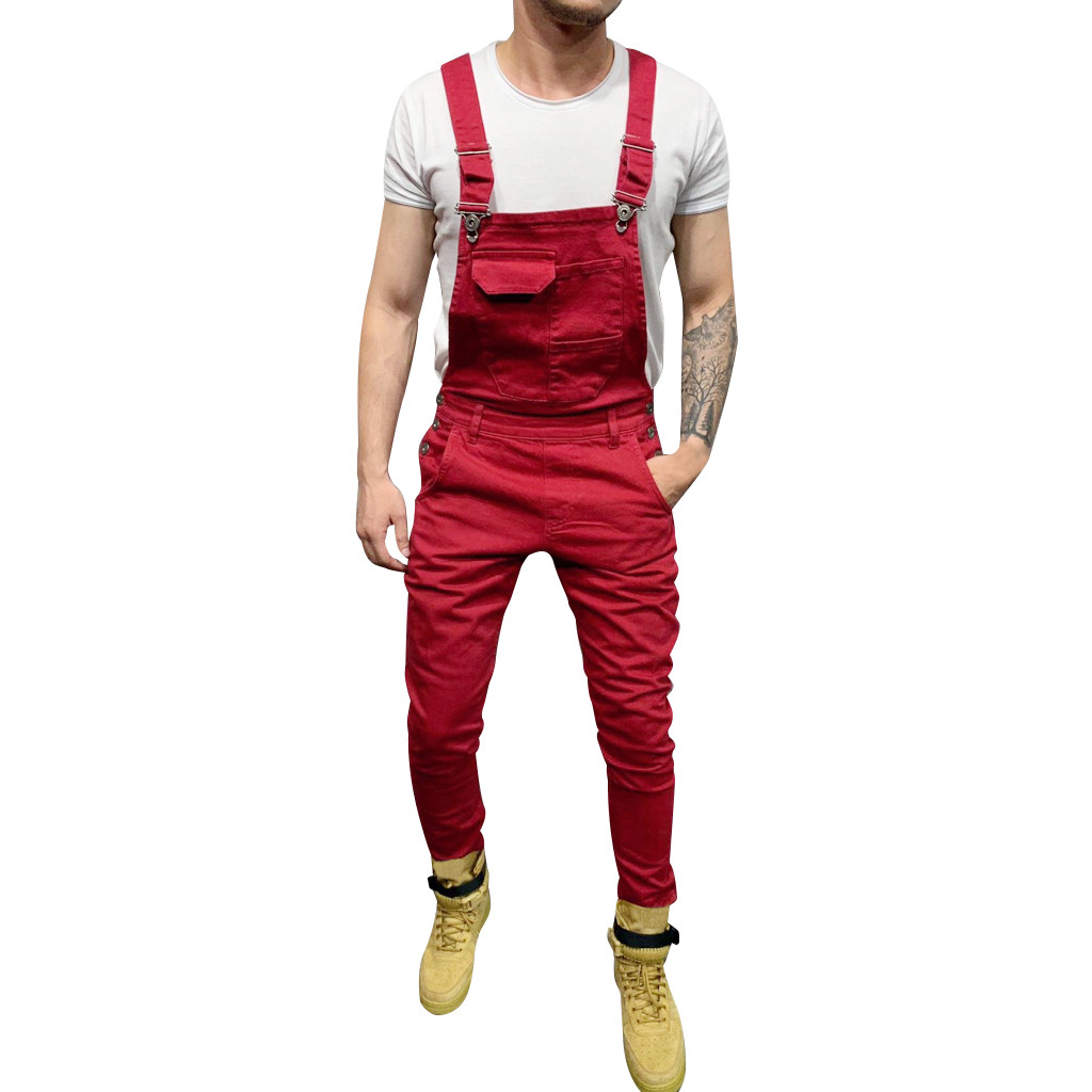 Men Pocket Jeans Overall Jumpsuit Streetwear Overall Suspender Pants Sports Trousers Male Pantalones Hombre Plus Size Autumn