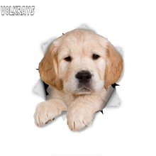 Volkrays 3D Golden Retriever Pup Car Sticker for Auto Motorcycle Luggage Skateboard Laptop Waterproof Decal PVC,15cm*15cm(China)