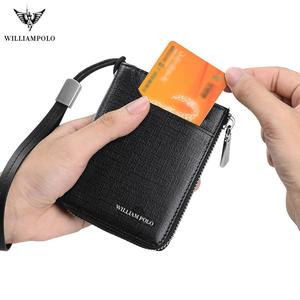 Image 2 - WILLIAMPOLO Men key wallet holder leather car zipper key wallet Anti theft wrist strap Multi function wallet new Coin Purse 2019