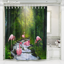 3D Flamingo Shower Curtains for Bathroom Home Decor Polyester Fabric Waterproof Primeval Forest