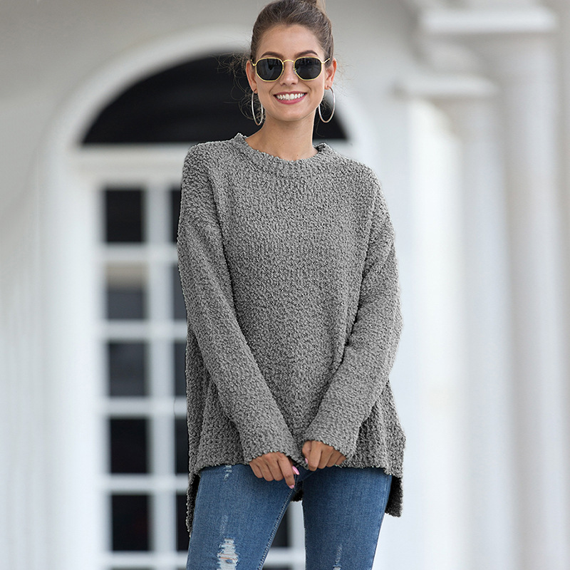 Knitting Women Sweaters And Pullovers Solid Gray Color Turtleneck Slim Casual Ladies Knitted Sweater