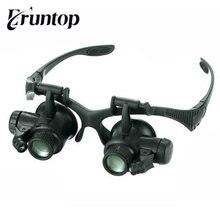 1 conjunto fone de ouvido óculos estilo led relógio reparação lupa com 10x 15x 20x 25x lupa