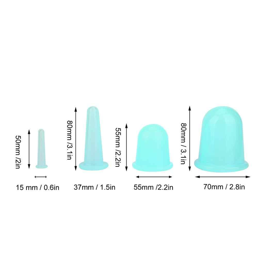 4 Pcs Silikon Vakum Pijat Wajah Bekam Suction Cup Set Deep Cleansing Pori-pori Lifting Firming Kulit Perawatan Menghaluskan Kerut