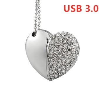 NEW Jewely usb 3.0 drive heart shape 8gb flash memory crystal gift USB