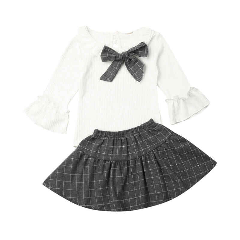 1-6Y Cute Baby Girl Clothes Sets Bowknot Flare Long Sleeve Tops Plaid Skirt Outfit Autumn Cotton Clothes 2PCS